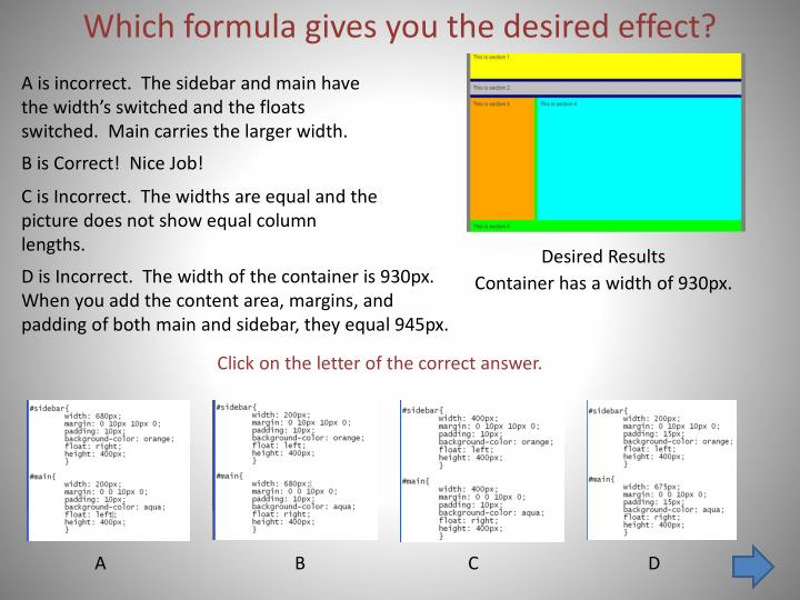 PPT - Which formula gives you the desired effect? PowerPoint