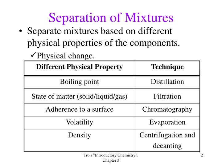 separation of solid state mixture components