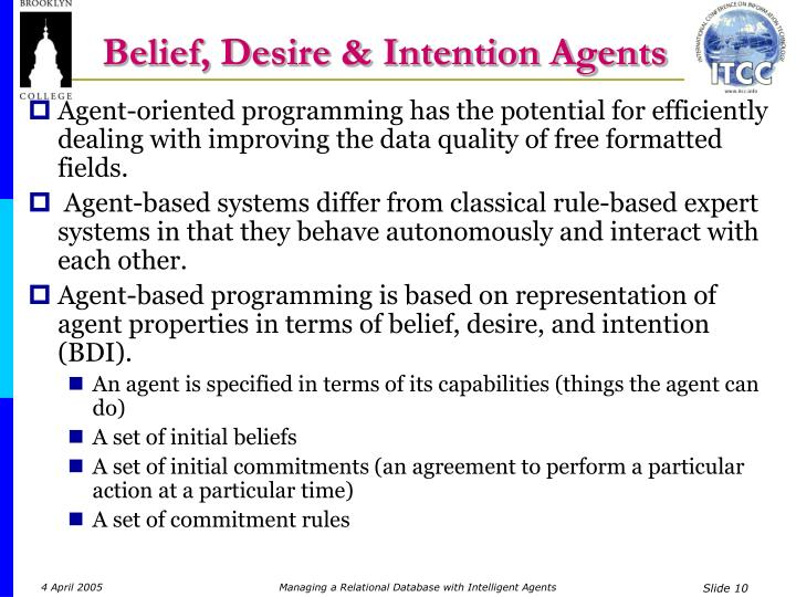 Belief, Desire & Intention Agents