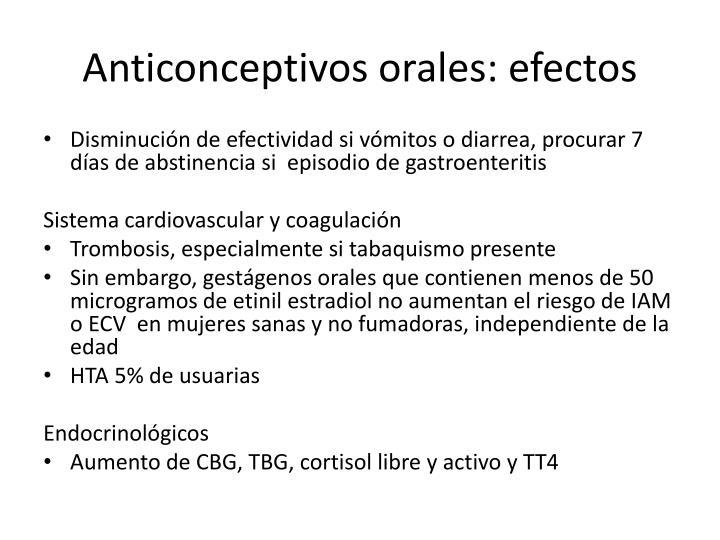 Anticonceptivos orales: efectos