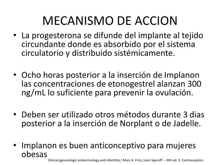 MECANISMO DE ACCION