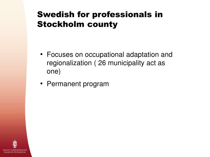 Swedish for professionals in Stockholm county