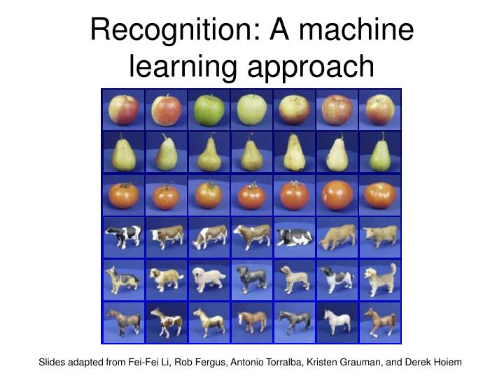 Recognition a machine learning approach