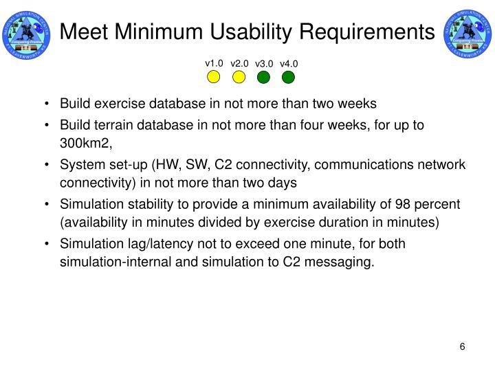 Meet Minimum Usability Requirements