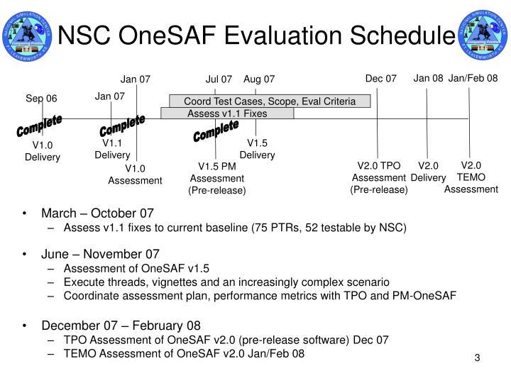 Nsc onesaf evaluation schedule