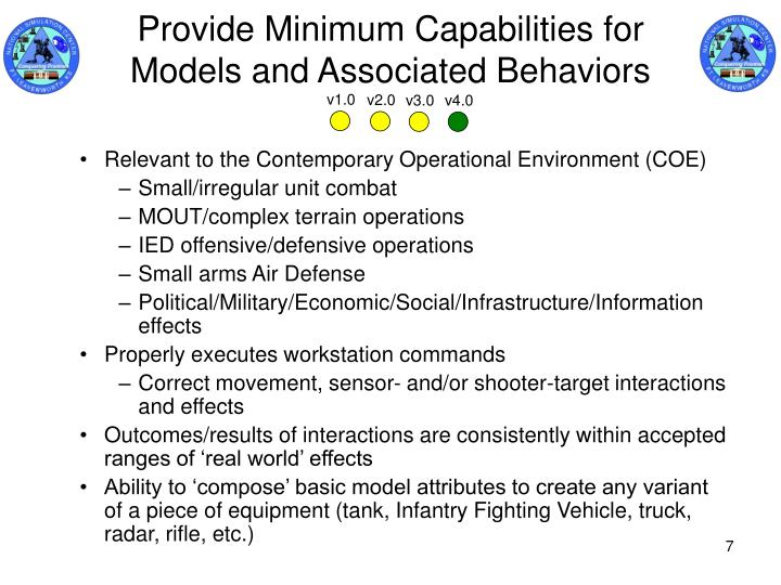 Provide Minimum Capabilities for Models and Associated Behaviors