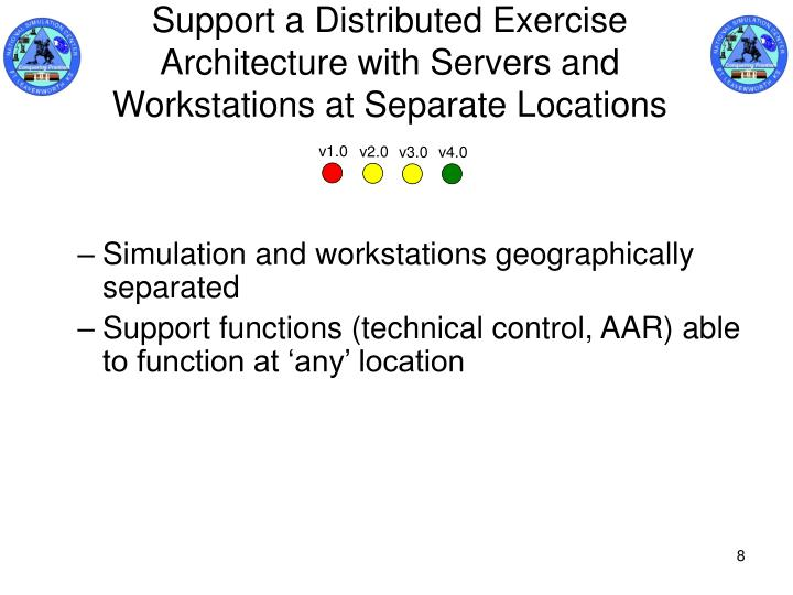 Support a Distributed Exercise Architecture with Servers and Workstations at Separate Locations