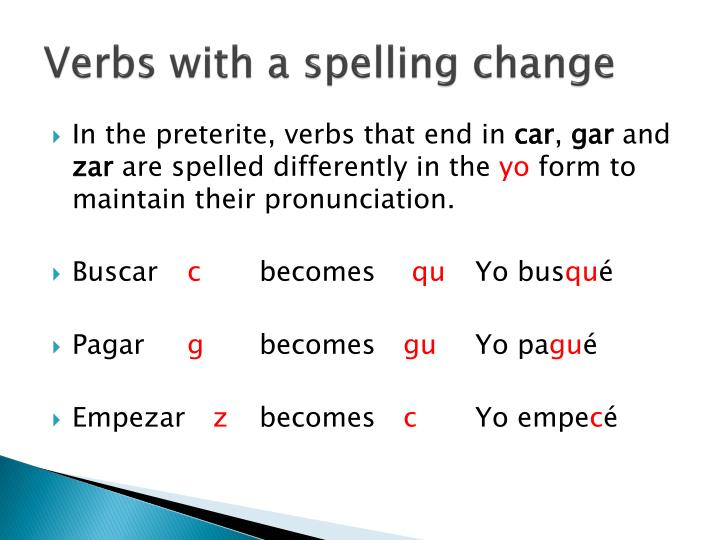 Verbs with a spelling change