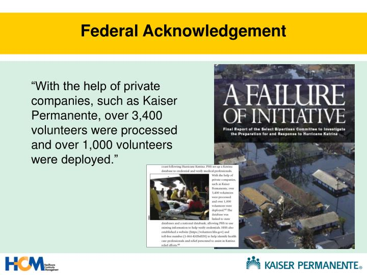 Federal Acknowledgement