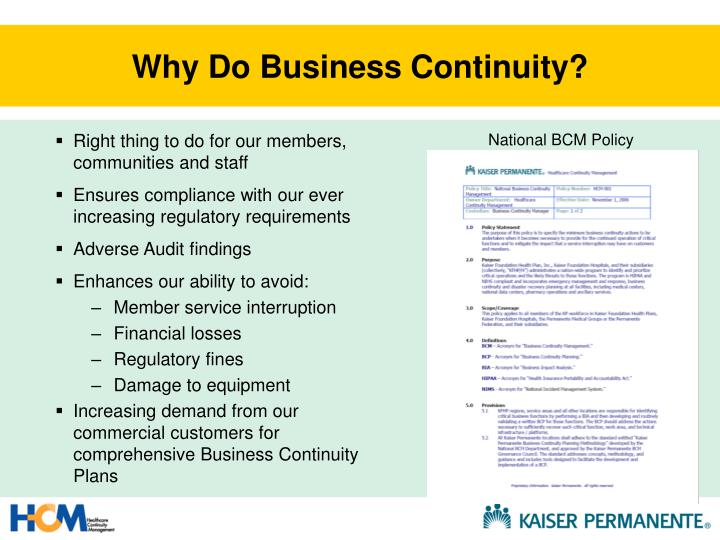 Why Do Business Continuity?