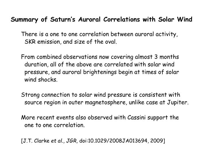 Summary of Saturn's Auroral Correlations with Solar Wind