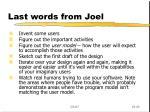 last words from joel