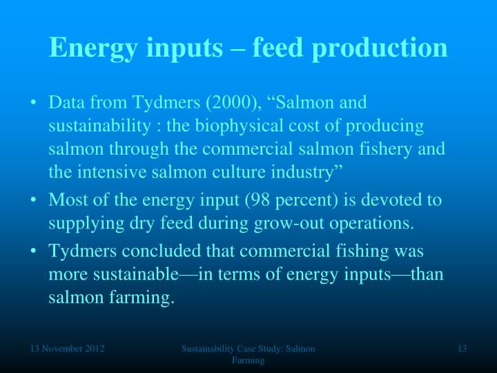 Energy inputs – feed production