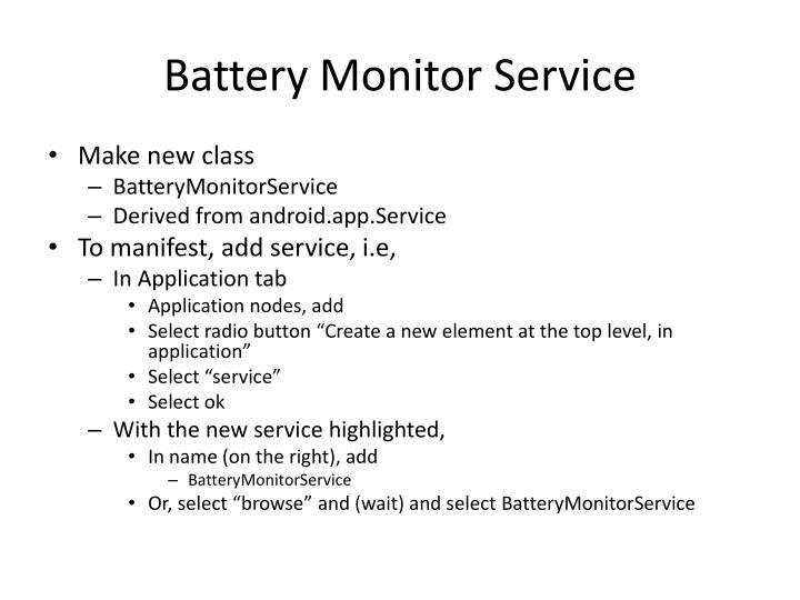 Battery Monitor Servic