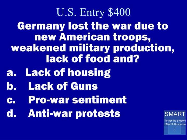 U.S. Entry $400