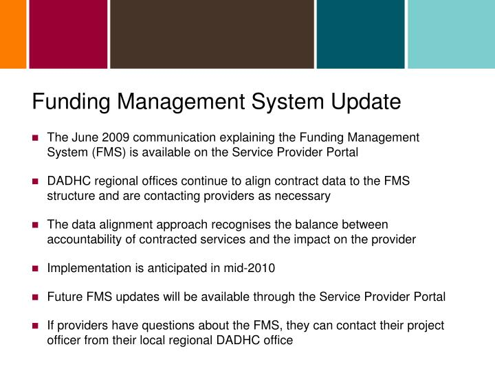 Funding Management System Update
