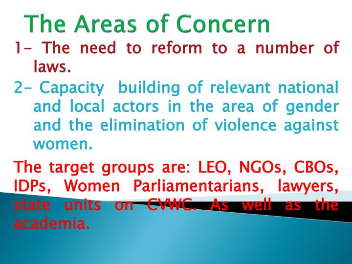 The Areas of Concern