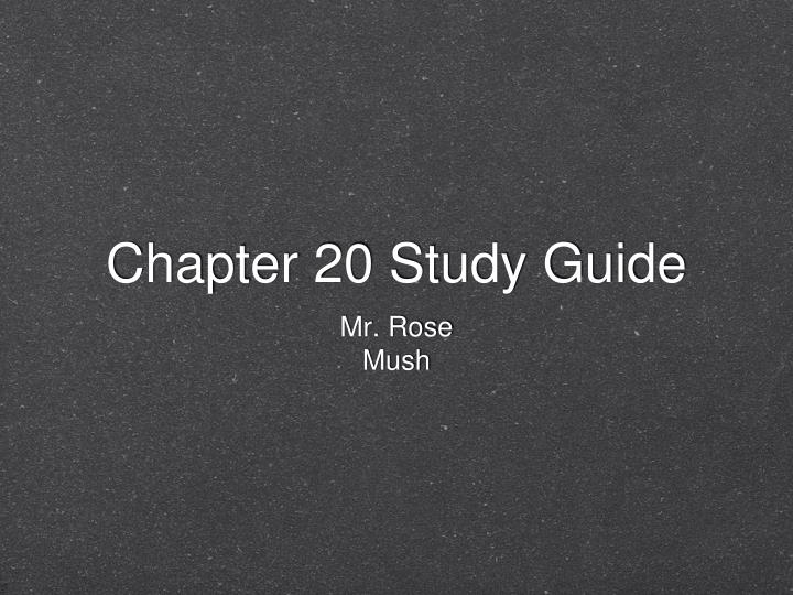 chapter 20 study guide n.