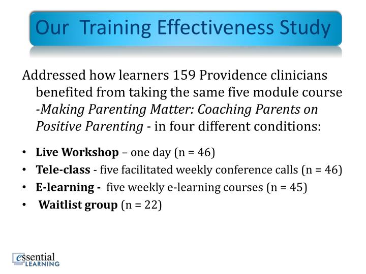 Our  Training Effectiveness Study