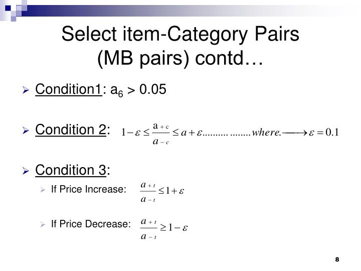 Select item-Category Pairs        (MB pairs) contd…