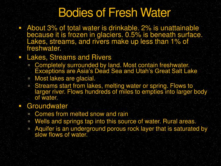 Bodies of Fresh Water