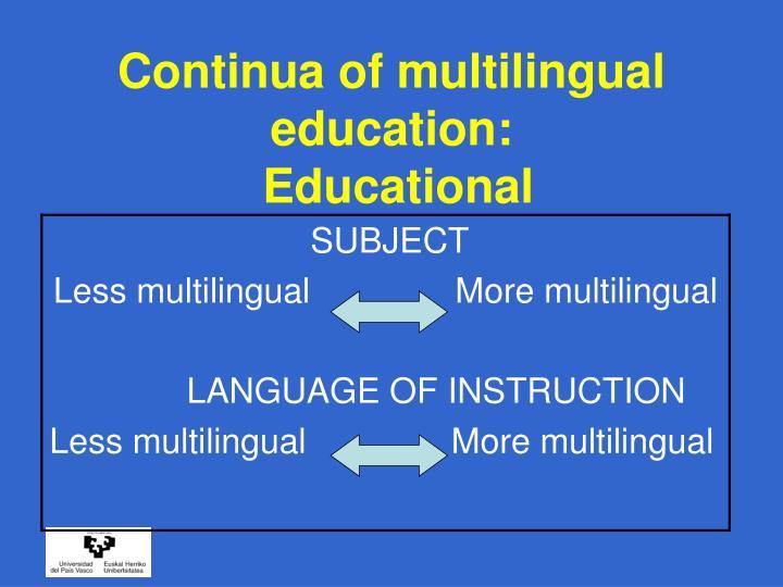 Continua of multilingual education: