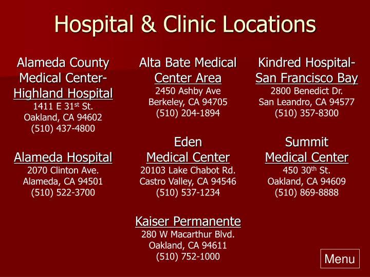 Hospital & Clinic Locations