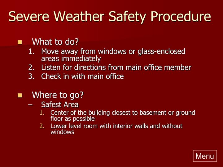 Severe Weather Safety Procedure