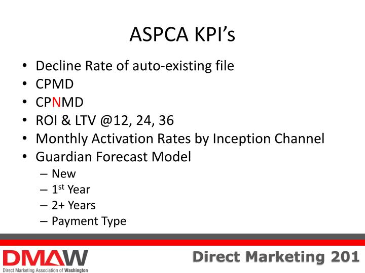 ASPCA KPI's
