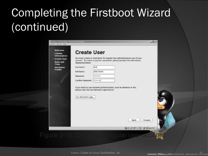 Completing the Firstboot Wizard (continued)
