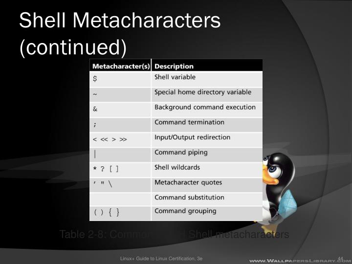 Shell Metacharacters (continued)