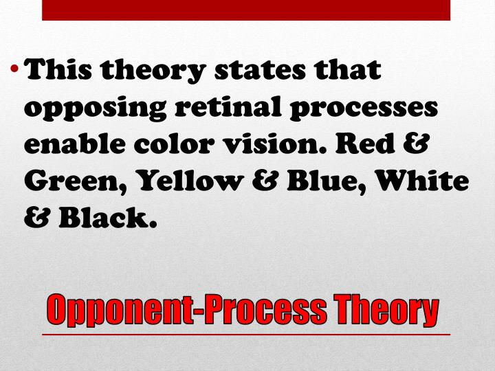 This theory states that opposing retinal processes enable color vision. Red & Green, Yellow & Blue, White & Black.