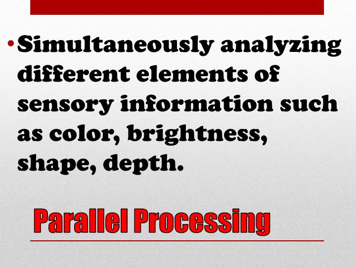 Simultaneously analyzing different elements of sensory information such as color, brightness, shape, depth.
