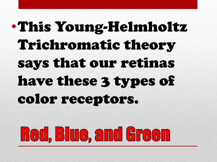 This Young-Helmholtz Trichromatic theory says that our retinas have these 3 types of color receptors.