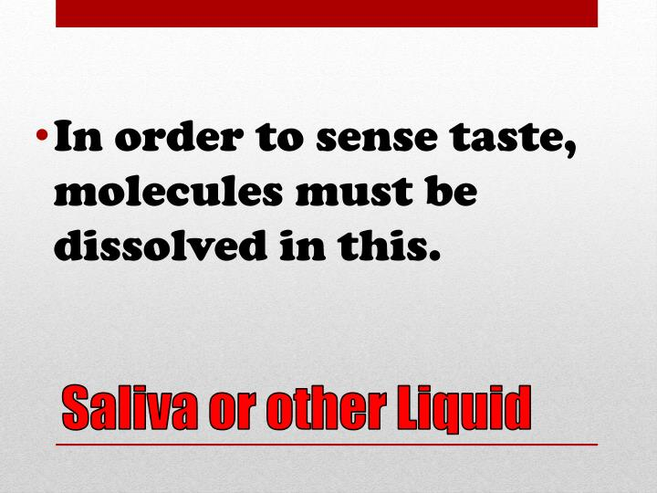 In order to sense taste, molecules must be dissolved in this.