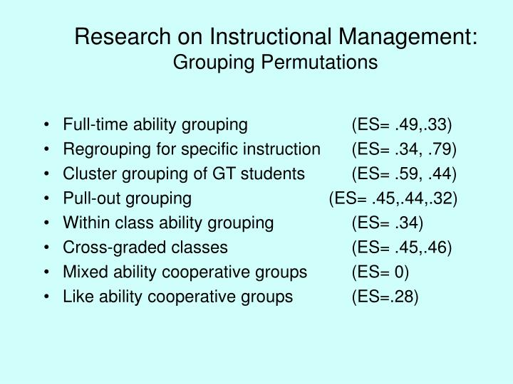 Research on Instructional Management: