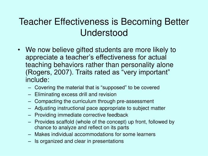 Teacher effectiveness is becoming better understood