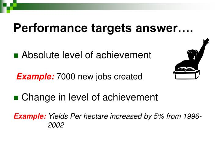 Performance targets answer….