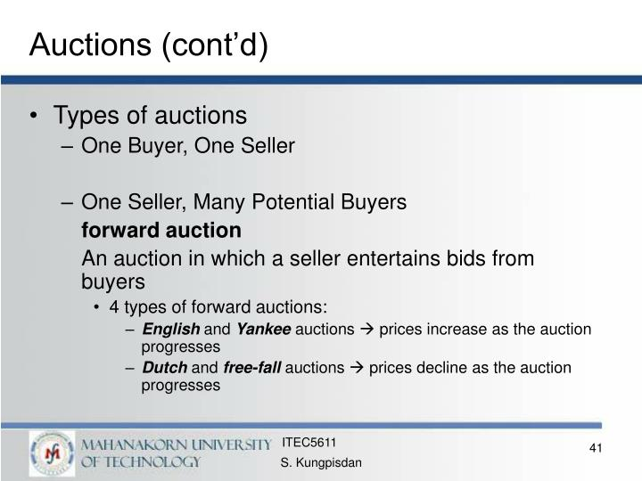 Auctions (cont'd)
