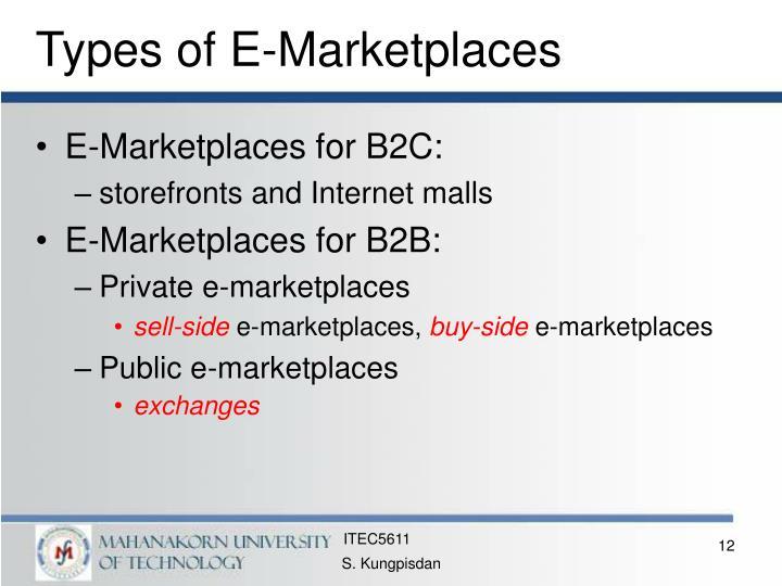 Types of E-Marketplaces