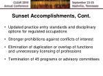 sunset accomplishments cont