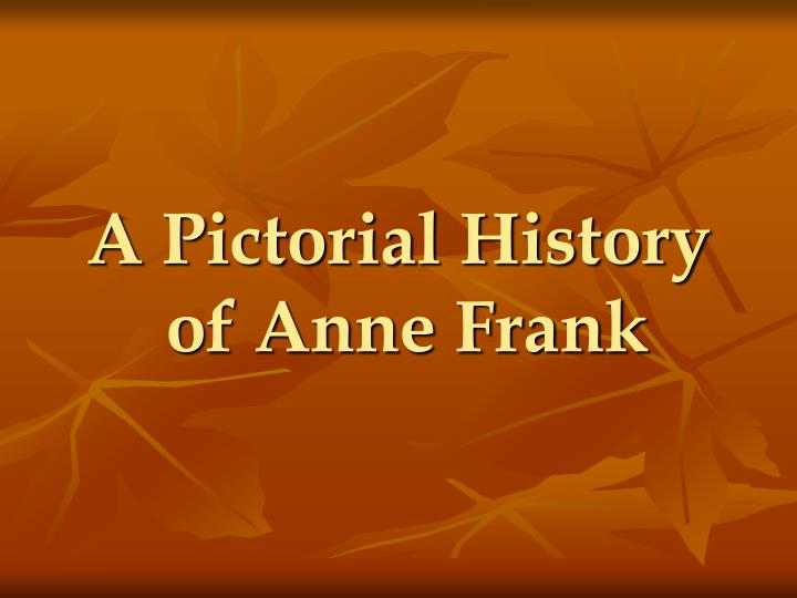 a pictorial history of anne frank n.