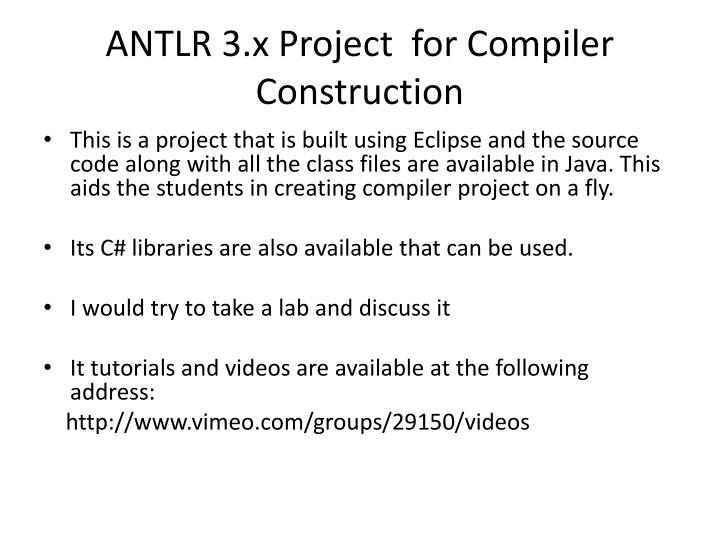 ANTLR 3.x Project  for Compiler Construction