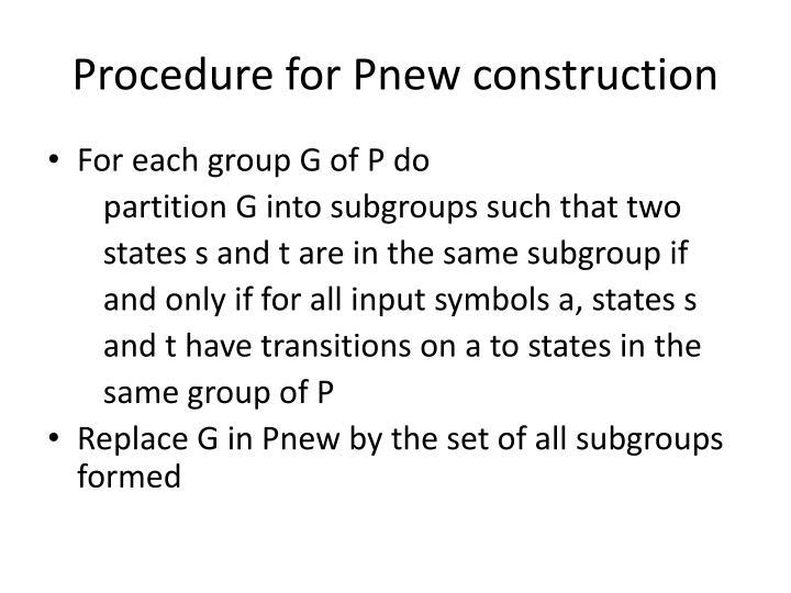 Procedure for