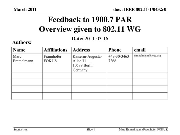 feedback to 1900 7 par overview given to 802 11 wg n.
