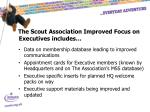 the scout association improved focus on executives includes