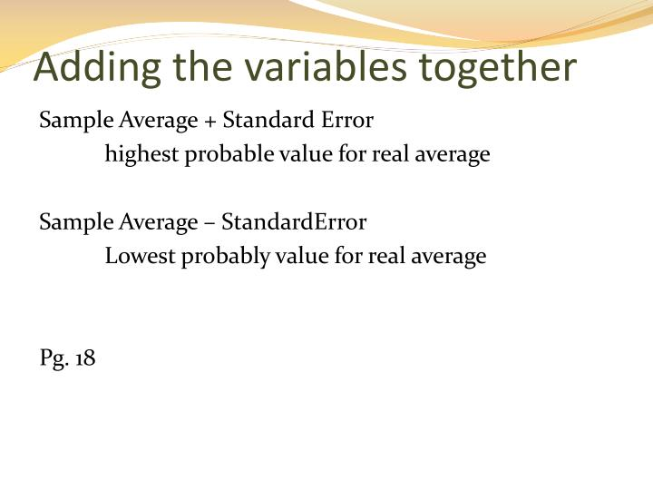 Adding the variables together