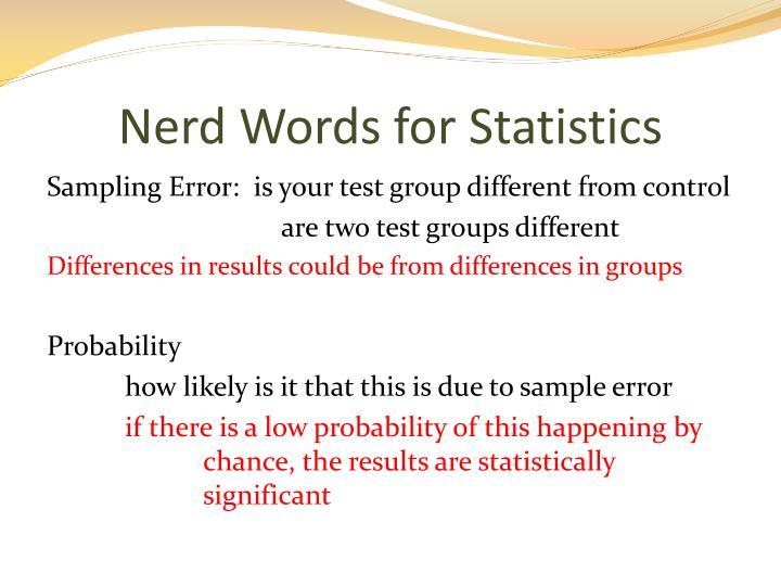 Nerd Words for Statistics
