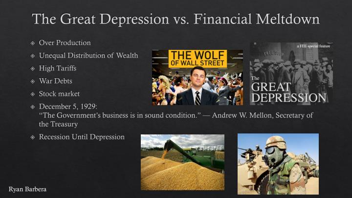 current recession vs great depression essay Since the great depression ended, the great recession was the longest and deepest economic downturn according to the economists, the great recession has ended officially on 2010, but the impacts of the great recession still remain and threaten the world economy today.