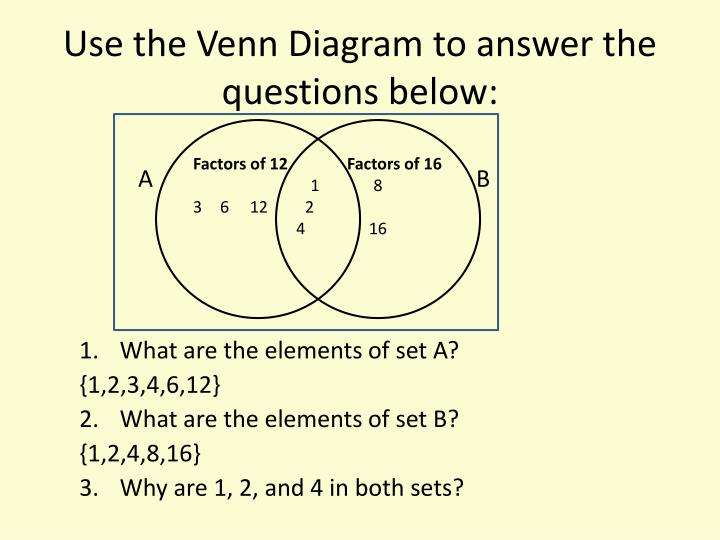 Use the Venn Diagram to answer the questions below: